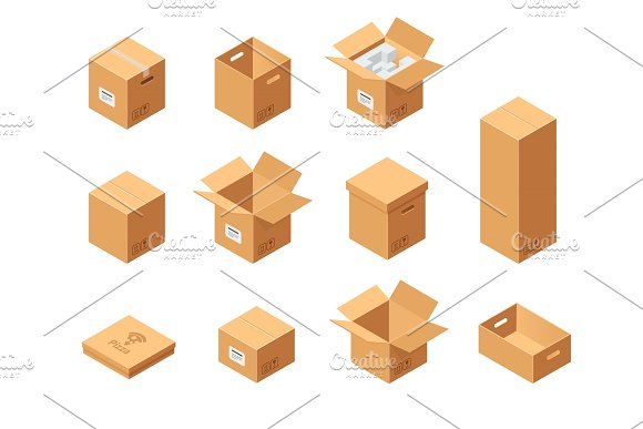 Carton Packaging Boxes Set Isometric View Different Size And Format Closed And Open Packages On White Background