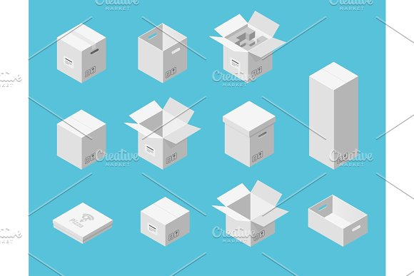 White Carton Packaging Boxes Set Isometric View Different Size And Format Closed And Open Packages On Blue Background