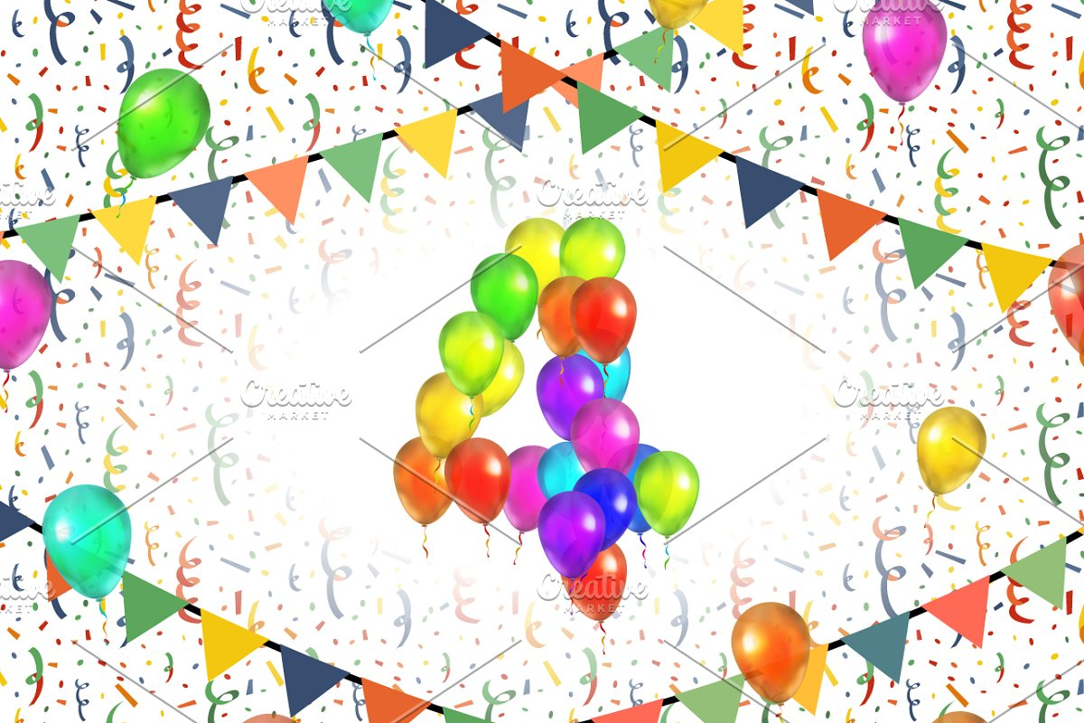 Number four made up from balloons in Illustrations - product preview 8