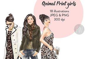 Animal Print Girls Fashion Clipart