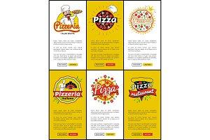 Pizzeria Italian Recipes Web Vector Illustration