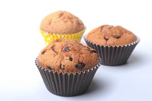 Homemade muffin with chocolate.