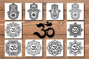 Set of patterns with mantra OM