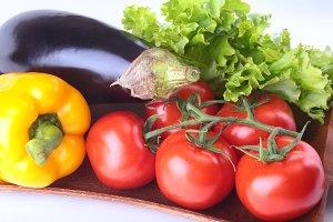Fresh assorted vegetables, eggplant,