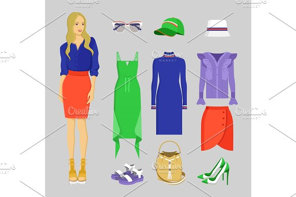 Summer Mode Of Woman Set Vector Illustration