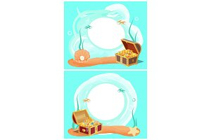 Creative Photo Frames with Treasure in Sea Set