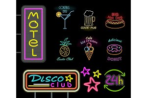 Motel and Disco Club Neon Sign Vector Illustration