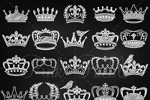 Chalkboard Crowns Clip Art & Vectors