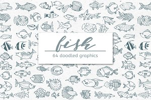 Doodled Fish – Set of 64 Graphics