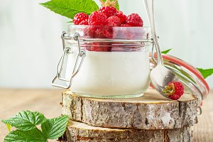 raspberry and yogurt