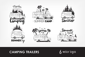 Set of camping trailer logo