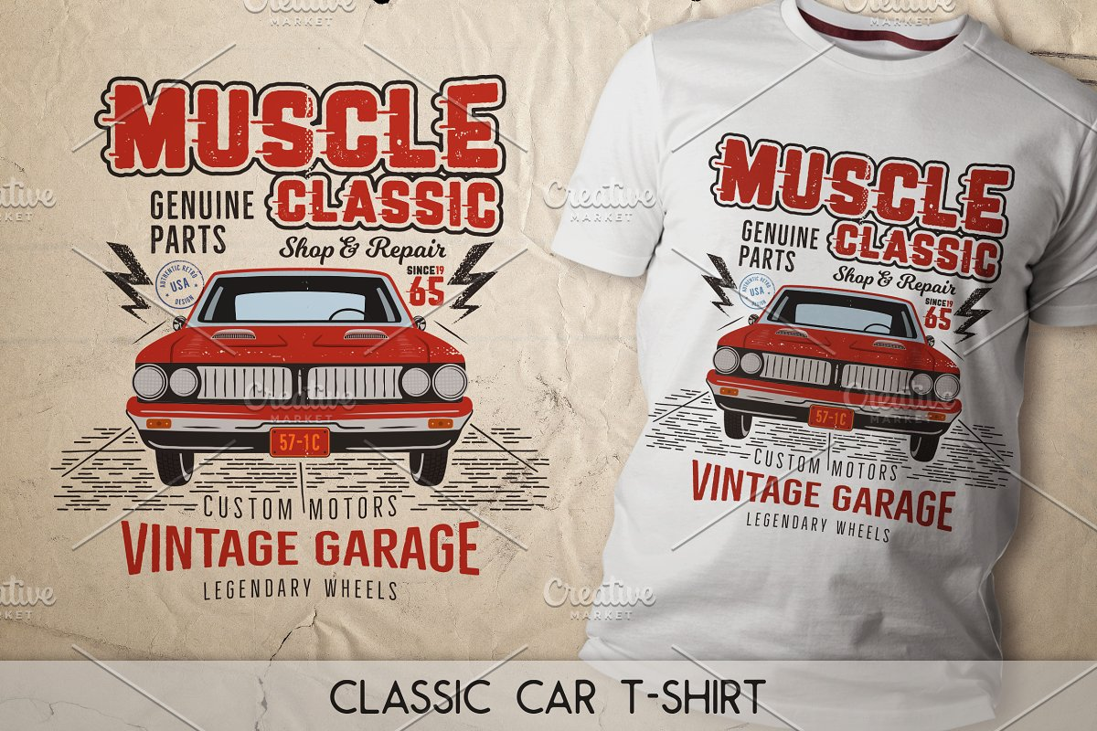 096efa08c Muscle Classic T-Shirt Design ~ Illustrations ~ Creative Market
