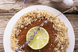 Delicate fragrant homemade cream pie with biscuit crumbs