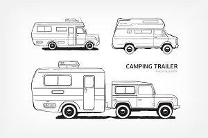 Camping caravan, car with trailer