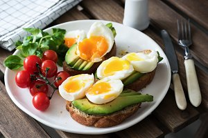 Poached egg, avocado, tomato toast