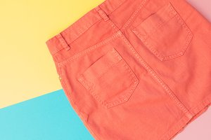 orange denim skirt
