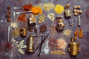 Flat lay spices