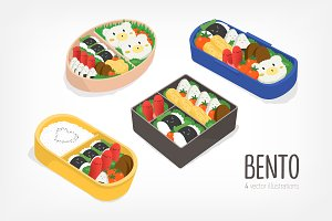 Set of bent, japanese lunch boxes