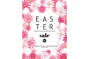 Easter sale, season offers and discounts background. Pink flowers and white eggs frame. Vector illustration.