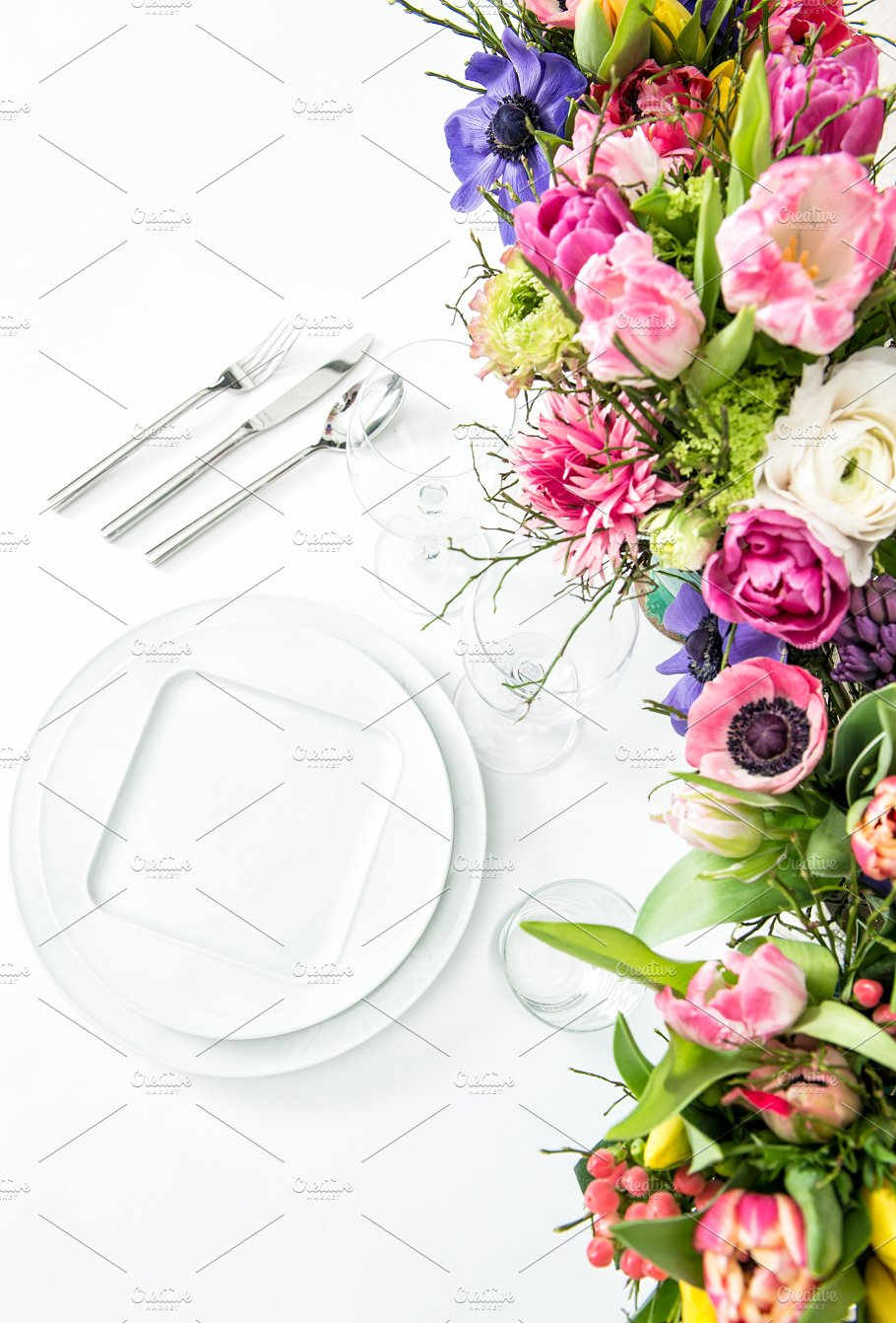 Table Decoration Spring Flowers Food Images Creative Market