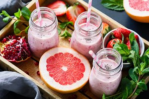 Fresh fruit and berry smoothies