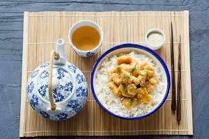Sesame chicken with rice, asian food