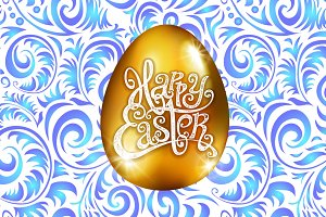Happy Easter. golden egg vector