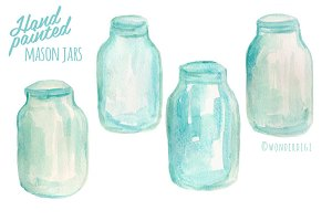 Watercolor Mason Jars