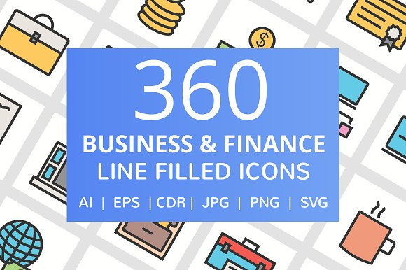 360 Business FInance Filled Icons