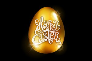 Happy Easter golden egg vector