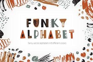 Set of creative funky alphabet