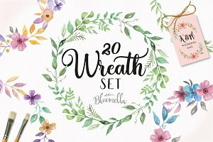 Wreath Watercolor Set 20 Floral Leaf
