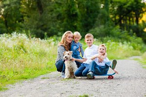 Family with fox terrier dog