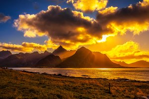 Sunset over the mountains of Lofoten islands
