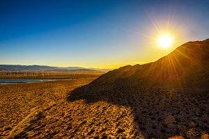 Sunset in Mojave desert near Palm Springs