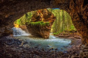 Johnston Creek in Canada photographed from a cave