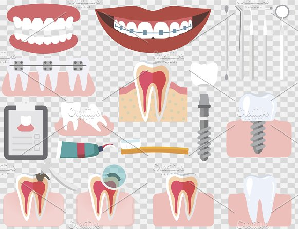 Set of isolated dental care elements