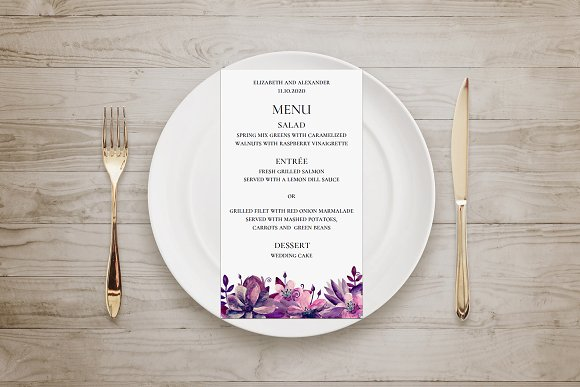 Purple And Pink Flowers Wedding Menu