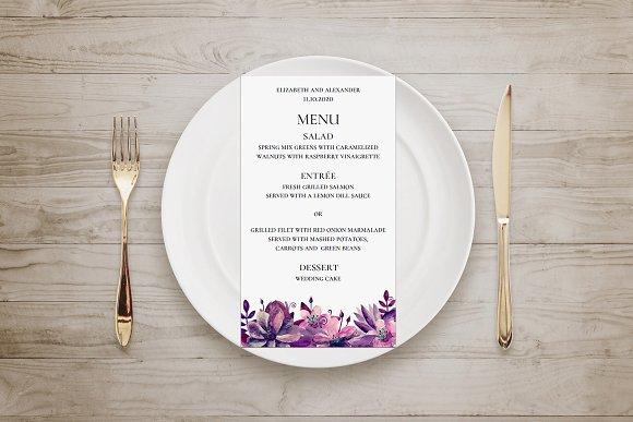 Purple And Pink Flowers Wedding Menu