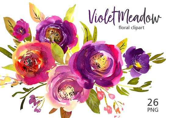 Violet Meadow Watercolor Flowers PNG