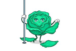 Cabbage pole dancer pop art vector illustration