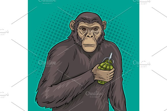 Monkey With Grenade Pop Art Vector Illustration