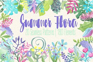 Summer Flower Patterns & Clipart