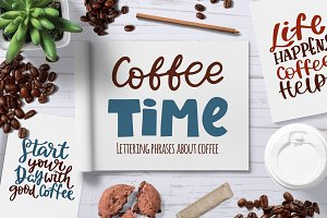 Coffee hand drawn lettering set