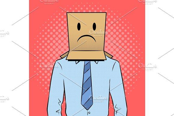 Man With Box Sad Emoji On Head Pop Art Vector