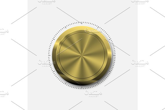 Dial Knob. Realistic Gold Button