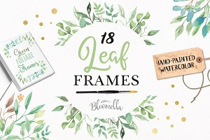 Leaf Frames Watercolor Green Foliage