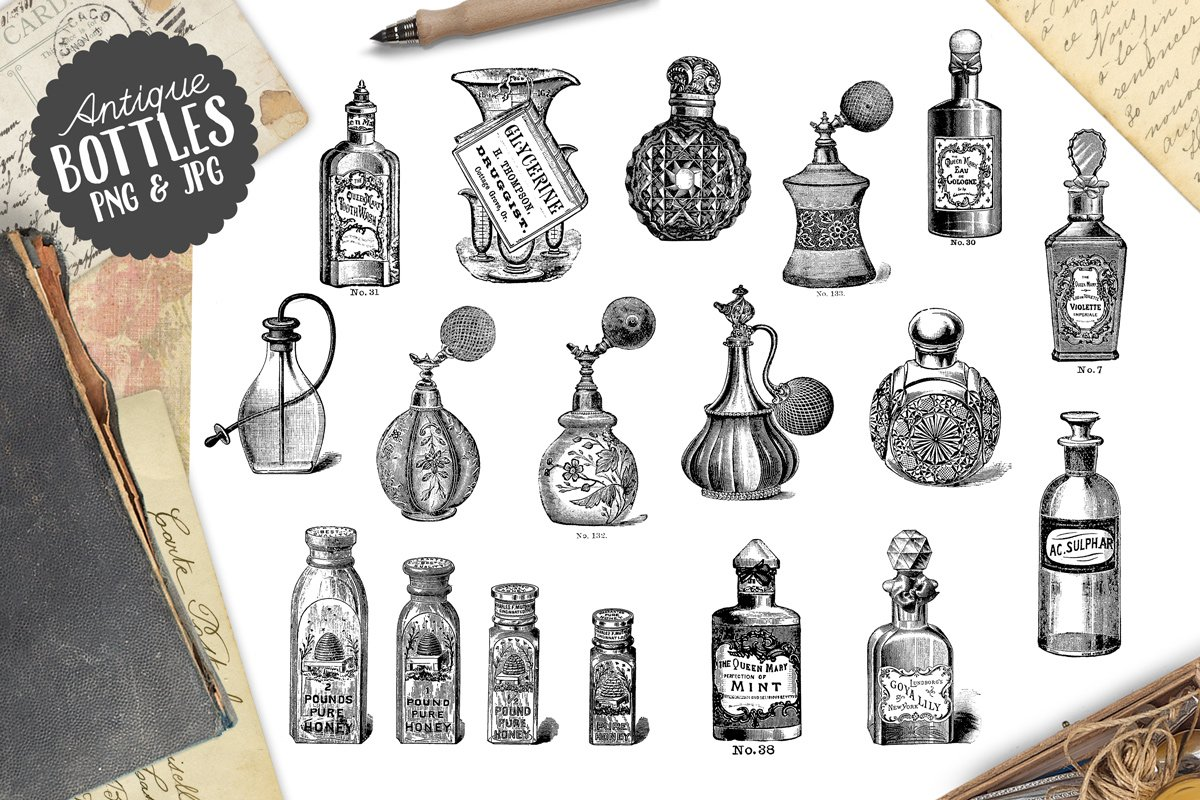 Antique Vintage Perfume Bottles Graphics Creative Market