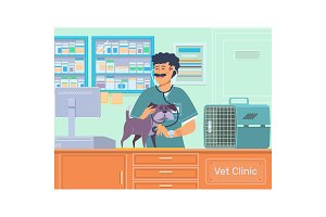 Veterinarian examining a dog in animal hospital.Veterinary doctor pet checkup with stethoscope.Vector illustration