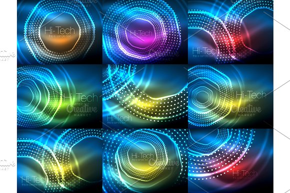 Set Of Magic Neon Shape Abstract Background Shiny Light Effect Template For Web Banner Business Or Technology Presentation Background Or Elements